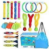 OWUDE 19 STÜCKE Pool Tauchen Spielzeug Set Tauchringe Tauchen Toypedo Tauchstöcke Aquatic Dive Balls Schwimmen Fisch Schwimmbad Spielzeug für Kinder mit Tragetasche
