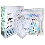 FFP2 Atemschutzmaske - Schachtel à 10 Stück CE-Zertifiziert mit verstellbarem Gummiband und anpassbarem Nasenbügel  5 Filtrationsschichten, Schützt drinnen und draußen  QZY 