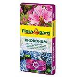 Floragard Rhodohum 40 L • Spezialerde • für Rohododendron, Azaleen, Blaubeeren und andere Moorbeetpflanzen • zur Bodenverbesserung • mit dem Naturdünger Guano