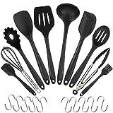 WisFox 20 Stück Silikon-Küchengeräte, Kochgeschirr Stücke Hitzebeständiges Silikon-Geschirr Küchenhelfer Set, Antihaft-Küchenbackwerkzeuge 10 Sätze + 10 S-Haken -Schwarz