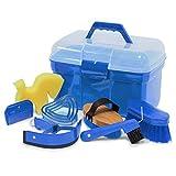 Reitsport Amesbichler Waldhausen Putzbox Putzkiste befüllt mit Zubehör für Pferde Farbe: azurblau Putzkasten Putzkoffer Putzbox mit Inhalt