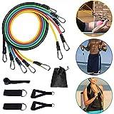 Zagzog Expander Resistance Bands Widerstandsband Set 5 Premium Fitnessbänder Gymnastikband Trainingsbänder mit Türanker Griffe Fußschlaufen Tragetasche für Krafttraining Yoga Physiotherapie Zuhause