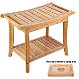 HOMECHO Badhocker Bambus Duschhocker mit 2 Etagen Sitzhocker mit Seifenkiste Bambus Badezimmerhocker Ablage Hocker 60 * 33 * 46 cm