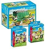 PLAYMOBIL 3er-Set: 70138 Mobiles Hühnerhaus + 9356 Bäuerin mit Schäfchen + 70155 Kinder mit Kälbchen