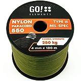 GO!elements 100m Paracord Seil aus reißfester Nylonschnur - 4mm Paracord 550 Typ III Schnur - geeignet als Allzweckseil & Reepschnur   Max. 250kg, Farbe:Oliv