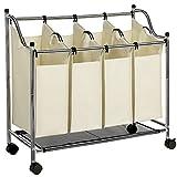 SONGMICS Wäschekorb, Wäschesammler mit 4 abnehmbaren Stofftaschen, Wäschebehälter auf Rollen, Wäschesortierer, stabil, 4 x 35 Liter, Beige LSF005S