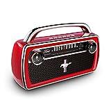 ION Audio Mustang Stereo – Retro Bluetooth Lautsprecher im Stil des Oldtimer Ford Mustang mit UKW / MW-Radio, wiederaufladbar