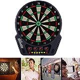 Elektronische Dartscheibe Dardboard mit 4 LCD-Anzeige, 6 Dartpfeilen| 27 Spiele mit 243 Spieloptionen Profi Elektronik Dartspiel E Dartautomat (Schwarz-Weiss)