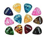 CASCHA Set mit 12 Plektren, Plektrum für Akustikgitarre, E-Gitarre, Ukulele, Bass, Guitar Picks, Zubehör für Gitarre