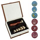 Mogokoyo Wachs-Siegelstempel-Set, 1 Holzgriff und 6 Teile, abnehmbarer Kupferkopf, Vintage / Messing Siegelstempel-Set mit Geschenkbox Stil #1
