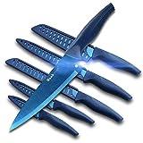 Wanbasion 6 Teilig Blau Scharfe Messer Set Küche Edelstahl, Profi Messer Set Für Köche Hochwertig, Beste Küchen Messer Set Kochmesser Spülmaschinenfest