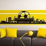 Grandora Wandtattoo Skyline Dortmund I schwarz (BxH) 165 x 47 cm I Wohnzimmer Schlafzimmer Stadt Fußball Fan Verein Aufkleber Wandaufkleber Wandsticker W890