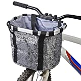 Fahrradkorb Vorne, ZCZY Faltbar Wasserdicht Fahrrad Lenkerkorb, Easy Install Abnehmbare Lenkerkorb Tasche für Kleiner Hund, Picknick, Einkaufen - Grau