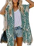 Elegancity Damen Kurzarm/Langarm Blumendruck Strand Kimono Strand Cardigan Strand Jacke Bikini Cover up OneSize
