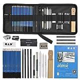 H & B 35 Stück Bleistifte Professionelle Skizzierstifte Set Skizzieren Zeichnen Bleistifte Profi Art Set für Künstler Anfänger Schüler und Kit Tasche (35 Stück)