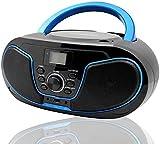 Tragbare CD-Player für Kinder Bluetooth Boombox mit UKW-Radio,USB Eingang, Aux-in, Kopfhörer, 2 x 2Watt RMS Stereoanlage (Blau+schwarz)