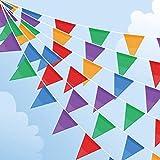 100M Wimpelkette, Mehrfarbig Wimpel mit 200 Stück Dreieck Flaggen, Nylon Stoff Bunting Banner für Geburtstag, Hochzeit, Outdoor, Indoor Aktivität, Party Dekoration