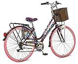 breluxx® 28 Zoll Damenfahrrad Venera Fashion Geisha Citybike mit Korb + Licht Retro Damenrad, 6 Gang Shimano, pink Reifen