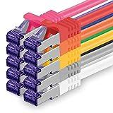 Cat.7 Netzwerkkabel Set 1m - 10-Farben - 10 Stück - Cat7 Patchkabel (SFTP PIMF LSZH) Rohkabel 10 Gb/s mit Rj 45 Stecker Cat.6a - 10 x 1 Meter 10-Farben