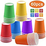 Einweg Pappbecher 60 Stück, 250 ml Multicolor Partybecher Biologisch Abbaubar für Hochzeit, Kinder DIY, Partybedarf, Kaffee, Tee, Heißen und Kalten Getränken