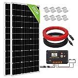 ECO-WORTHY 200 Watt Monokristallines Solarpanel Komplett Off-Grid Kit mit 2 Solarmodule je 100W + LCD Laderegler + Solarkabel + Halterungen für Montage, geeignet für Boot Camping Wohnwagen Schuppen