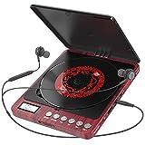 Tragbarer CD Player, 1000 mAhPersönlicher Wiederaufladbar MP3 CD Player mit Doppelte 3.5mm Kopfhörern Buchse Disc Walkman mit stoßfester Schutz Für Kinder & Erwachsene (Red)