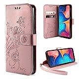 ivencase Samsung Galaxy A20e Hülle Flip Lederhülle, Samsung A20e Handyhülle Book Case PU Leder Tasche Case mit Kartenfach und Magnet Kartenfach Schutzhülle für Samsung Galaxy A20e - (Pink-Gold)