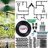 Jeteven 40M Bewässerungssystem Garten,189Pcs Mikro Drip Bewässerungssets, Automatik Tröpfchenbewässerung Gartenbewässerung Misting Kühlsystem für Garten Zimmerpflanzen Gewächshäuser Blumenbeete