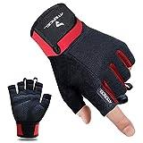 Atercel Fitness Handschuhe Gewichtheben Handschuhe für Crossfit, Bodybuilding, Radsport, Gym, Krafttraining(Rot, M)