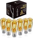 Led Vintage Glühbirne, Woowtt 4W Edison Glühbirne E27, Led Filament Lampe, Retro Amber Warm Licht, 400 Lumen, ST64 - 6 Stück