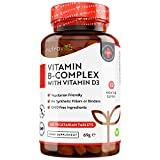 Vitamin B-Komplex mit Vitamin B12 und D3-365 vegetarische Tabletten in einer 12-monatigen Versorgung - Vitamine B1, B2, B3, B5, B6, B12, Biotin und Folsäure - hergestellt von Nutravita