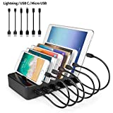 YOJA Ladestation Mehrere Geräte 6 Port USB Multi Ladestation Handy Tablet USB Ladegerät für mehrere Geräte kompatibel mit Handys und Tablets, 6 Kurze Kabel Inklusive, Schwarz