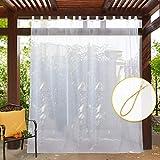 PONY DANCE Extra Großer Vorhang für Garten - (1 Stück H 274 x B 254 cm) Voile Gardinen Transparent Vorhänge für Licht Filtern Schlaufenvorhang, Weiß