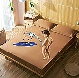 XLMHZP Superweiche Kingsize-Bettlaken,Cartoon Bettwäsche Gesteppte wasserdichte Matratzenbezug Dickes Wärmeblatt Waschbar Großes Bettlaken Doppelbett Einzelbett-G_180x200cm + 25cm