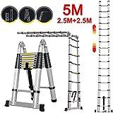 5M Teleskopleiter Alu Leiter 2,5M+2,5M Schiebeleiter Klappleiter Multifunktionsleiter Ausziehleiter 16 Sprossen Leicht zu tragen max Belastbarkeit 150 kg