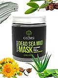 GEMS Dead Sea Mud Mask, mit Schlammextrakt aus dem Toten Meer, mit Pinsel und Reisebeutel, mit Calendula Öl, Aloe Vera, Shea Butter, Jojoba Öl, Naturkosmetik, Vegan, Premium, 250g