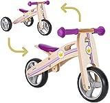 BIKESTAR Mini Kinder Laufrad Holz Lauflernrad mit DREI Rädern für Jungen und Mädchen ab 1 – 1,5 Jahre   2 in 1 Kinderlaufrad   Kleine Prinzessin   Risikofrei Testen