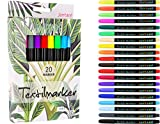 Jantare Textilmarker | 20 Textilstifte waschmaschinenfest - Stoffmalstifte ideal zum bemalen von T-Shirts, Schuhen, Kappen und Taschen