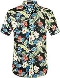 SSLR Herren Hawaiihemd Kurzarm Baumwolle Freizeithemd 3D Druck Blumen Button Down Aloha Shirts Strand (Large, Black)