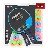 JOOLA Tischtennisschläger Tischtennisset Tt-schlägerset, mehrfarbik, 2, 8 Bunte Tischtennisbälle