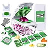 YRYP Gemüseschneider Gemüsehobel Kartoffelschneider 8 Austauschbare Klingen mit Schäler Obst, Multischneider Gemüseschäler, Julienneschneider, für Alle Gemüse