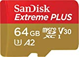 SanDisk Extreme Plus 64GB microSDXC Class 10 Speicherkarte mit SD-Adapter, Gold/Rot