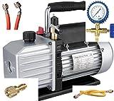 Kälte - Klima - Set TÜV Vakuumpumpe + Monteurhilfe + Schläuche, 51 - 57lt., R410a R407c R134a R22