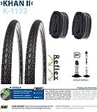 P4B | Komplettes 28 Zoll Fahrrad Reifen Set = 2X 35-622 (28' x 1 3/8 x 1 5/8) Fahrradreifen mit Pannenschutz + Reflexstreifen | 2X Schläuche 28 Zoll | DV 40 mm | FORMGEHEIZT