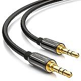 deleyCON 3m Klinkenkabel 3,5mm AUX Kabel Stereo Audio Kabel Klinkenstecker gerade für PC Laptop Handy Smartphone Tablet KFZ HiFi-Receiver - Schwarz