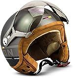 "SOXON SP-325 Plus ""Titanium"" · Jet-Helm · Motorrad-Helm Roller-Helm Scooter-Helm Bobber Mofa-Helm · ECE Visier Schnellverschluss Tasche S (55-56cm)"