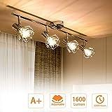 PADMA LED Deckenlampe Küche Schwenkbar Deckenstrahler 4 Flammig im Retro/Vintage 4 x 4W(Glühbirne enthalten) Deckenleuchte Wohnzimmer Warmweiß 3000K 1280 Lumen E14 für Schlafzimmer Büro Flur Esszimmer