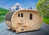 FinnTherm Saunahaus Oval inkl. Elektro-Ofen (6 kW) | Premium-Thermoholz - Gartensauna Außensauna