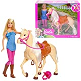 Barbie FXH13 - Pferd mit Mähne und Puppe mit beweglichen Knien, Puppen Spielzeug und Puppenzubehör ab 3 Jahren