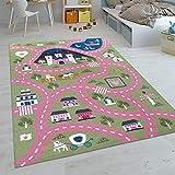 Paco Home Kinder-Teppiche, Kurzflor-Teppiche für Kinderzimmer mit vers. Designs Spielteppiche Bunt, Grösse:140x200 cm, Farbe:Pink